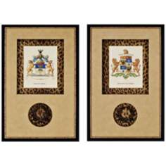 "Set of 2 Stately Heraldry 28"" High Wall Art"