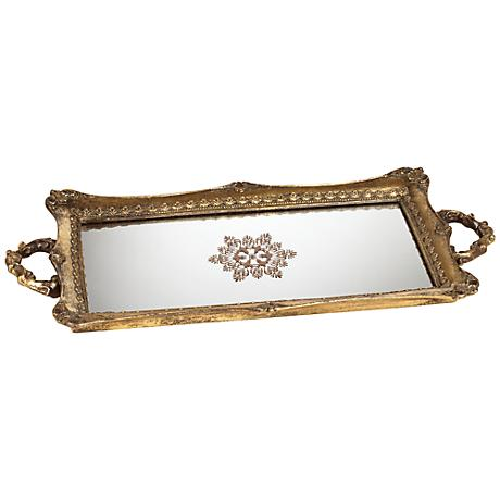 Randa Antique Gold Mirrored Tray