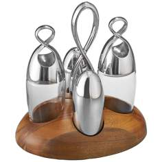 Nambe Infinity Salt & Pepper, Oil & Vinegar Set