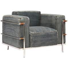 Zuo Lasso Blue Denim Armchair