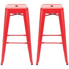 Set of 2 Zuo Marius Red Bar Stools