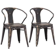 Set of 2 Zuo Helix Steel Antique Black Gold Chairs