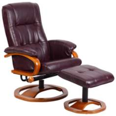 Euro Design Black Cherry Swivel Recliner with Ottoman
