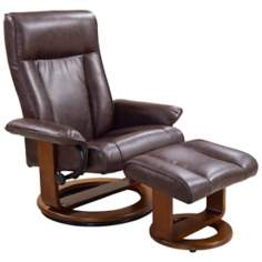 Euro Design Ebony Swivel Recliner with Ottoman