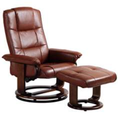 Euro Design Vintage Swivel Recliner with Ottoman