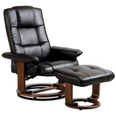 Euro Design Black Swivel Recliner with Ottoman