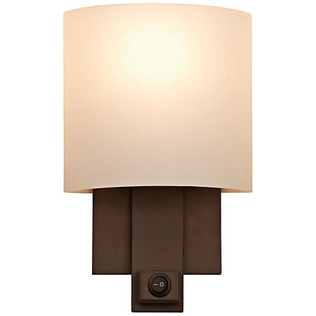 "Espille Calcite Glass 13"" High Bronze Wall Sconce"