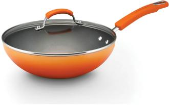 "Rachael Ray Orange 11"" Enamel Covered Stir Fry Pan (3G965) 3G965"