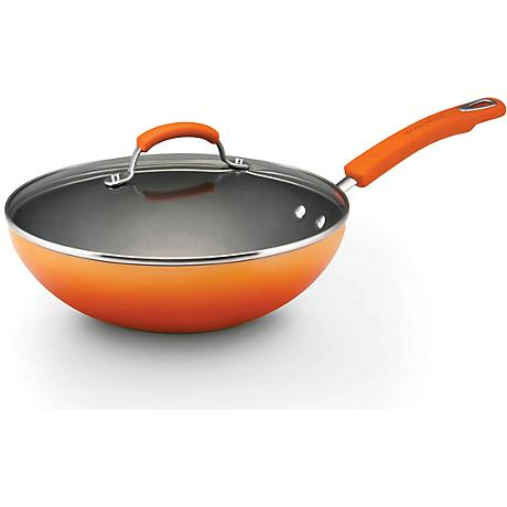 "Rachael Ray Orange 11"" Enamel Covered Stir Fry Pan"