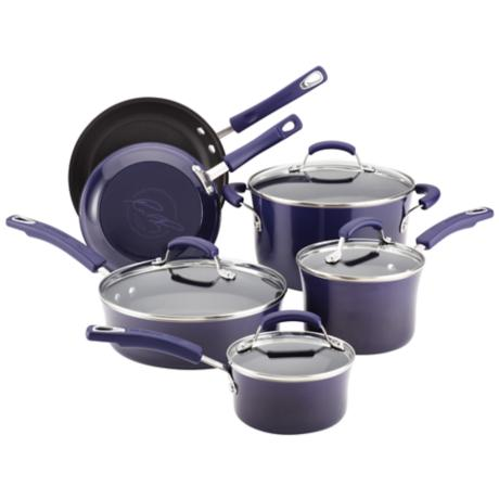 Rachael Ray Porcelain II Purple 10-Piece Cookware Set - #3H062 ...