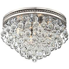 "Regina Brushed Nickel 16"" Wide Crystal Ceiling Light"