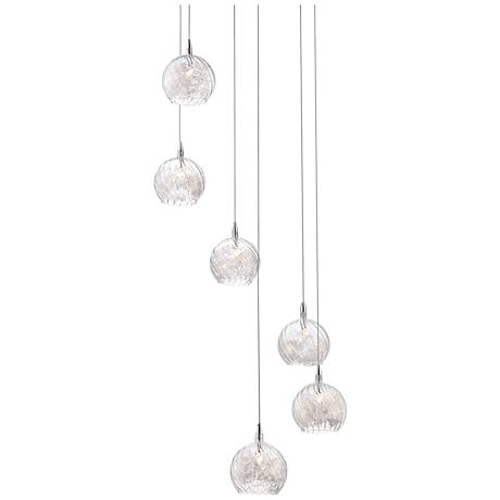 "Possini Euro Design Wired 18"" Wide Glass Multi Light Pendant"
