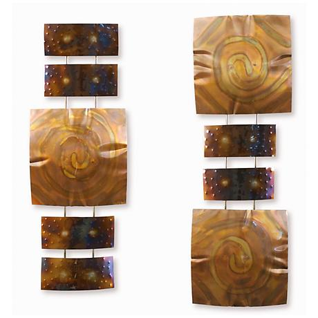 "Set of 2 Copper Pillow 32"" High Modern Metal Wall Art"