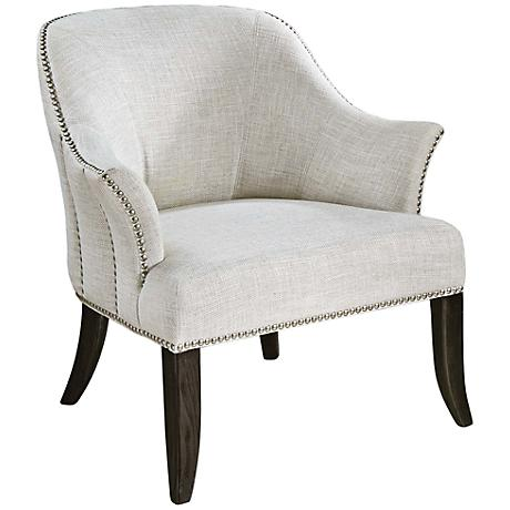 Uttermost Leisa Alabaster White Weave Armchair
