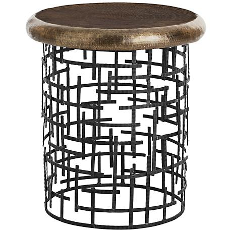 Arteriors Home Capelli Hammered Brass Side Table