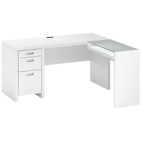Kathy Ireland New York Skyline Plumeria White L-Desk