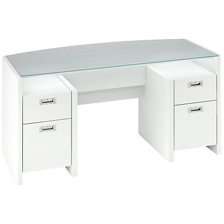 Kathy Ireland New York Skyline Plumeria White Desk