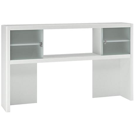 Kathy Ireland New York Skyline White L-Desk Hutch