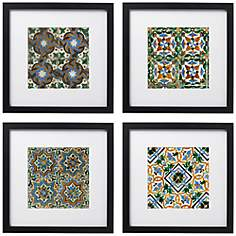 "Taza Tiles 4-Piece 14"" Square Black Framed Wall Art Set"