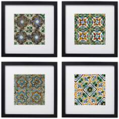 "Set of 4 Taza Tiles 14"" Square Black Framed Wall Art"