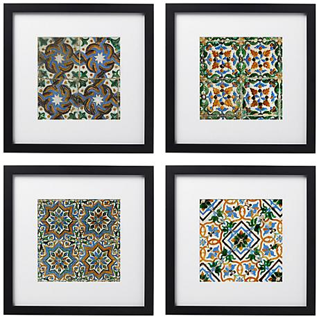 "Taza Tiles 4-Piece Print Set in 14"" Square Black Wood Frames"