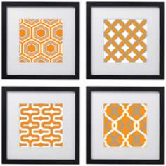 "Set of 4 Tangerine Tiles 14"" Square Black Framed Wall Art"