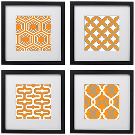 "Tangerine Tiles 4-Piece 14"" Square Black Framed Wall Art Set"