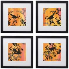 "Set of 4 Sunset Sparrow 14"" Square Black Framed Wall Art"