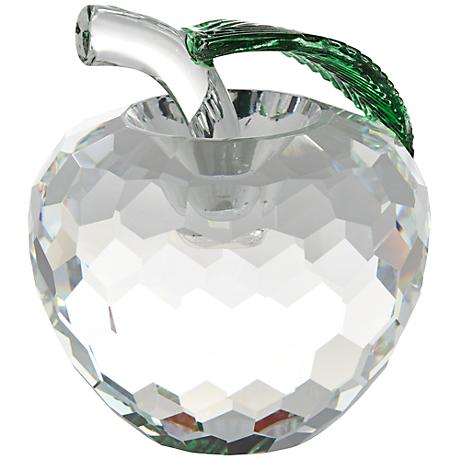 "Clear Crystal 3 1/4"" High Apple Figurine"