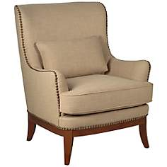 Jordyn Camel with Brass Nailhead Trim Armchair