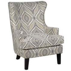 Desmond Print with Nailhead Trim Winged Armchair