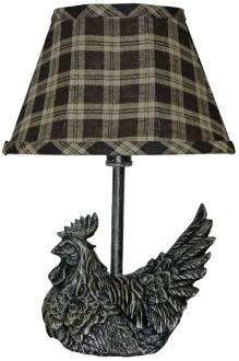 Mini Black Rooster With Plaid Shade Country Table Lamp (3J414)
