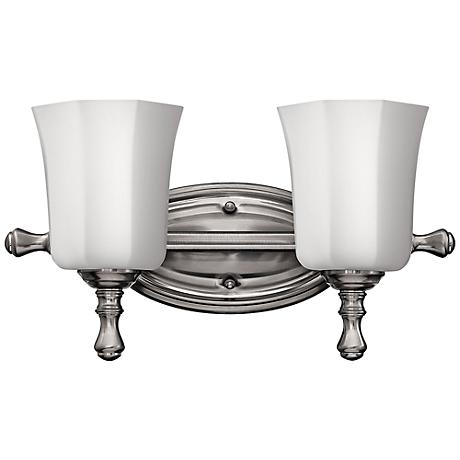 "Hinkley Shelly 16"" Wide Brushed Nickel Bathroom Light"