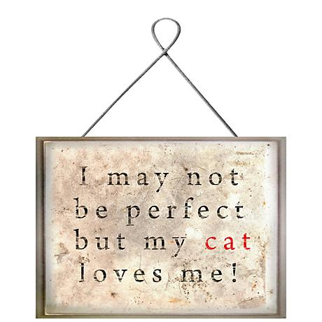 "Cat Love 8"" Wide Framed Rustic Folk Art Giclee Wall Art"
