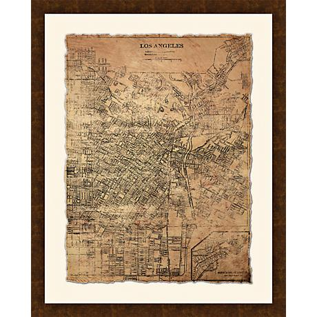 "Los Angeles Map I 30 1/2"" High Framed Giclee Wall Art"