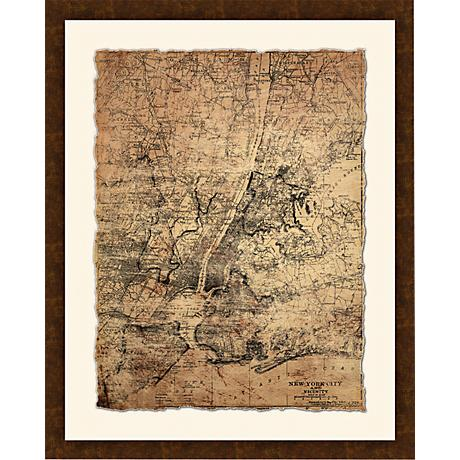 "New York City Map I 30 1/2"" High Framed Giclee Wall Art"