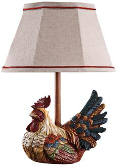 Mini Rooster With Plaid Shade Country Table Lamp (3J636)