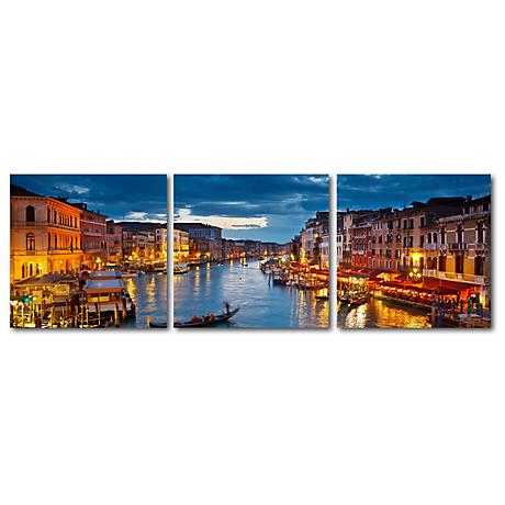 Early Evening Venetian Canal Print Triptych Wall Art