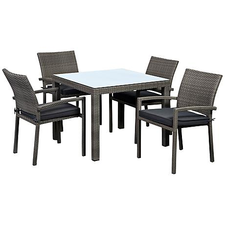 Atlantic Liberty 5-Piece Gray Wicker Outdoor Dining Set