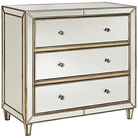 Hammary Findlay Mirrored Gold 3-Drawer Tall Chest