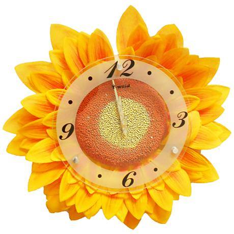 "Bright Yellow 17 1/2"" Wide Sunflower Clock"