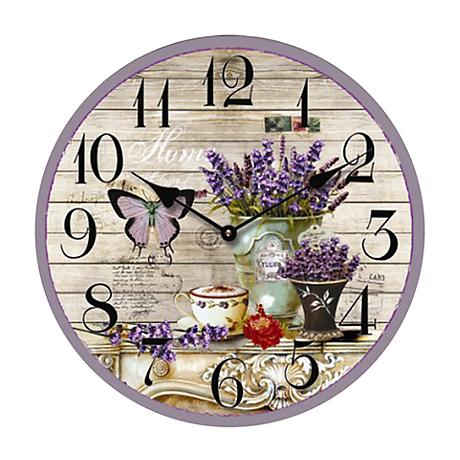 "Butterfly and Flowers 13 1/2"" Round Wall Clock"