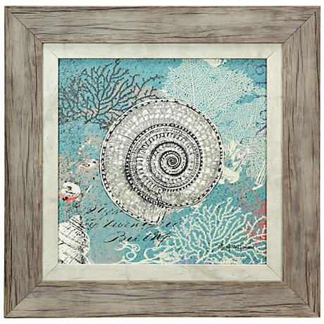 "Shells on Aqua Blue 18"" Square Framed Coastal Wall Art"
