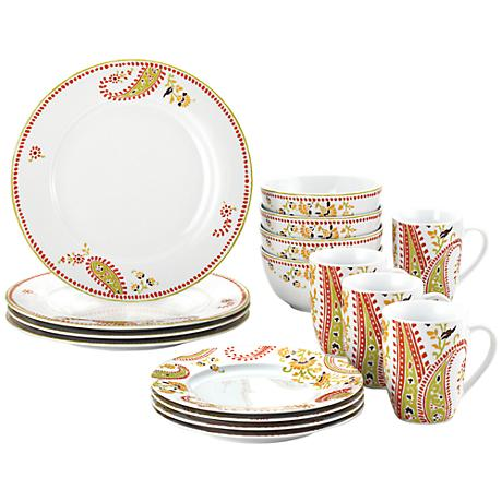 Rachael Ray Paisley 16-Piece Dinnerware Set