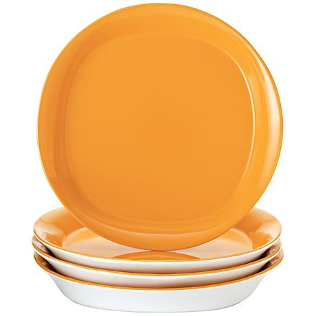 Rachael Ray Round/Square 4-Pc Lemon Zest Salad Plate Set