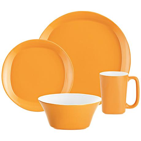 Rachael Ray Round/Square 4-Piece Lemon Zest Dinnerware Set