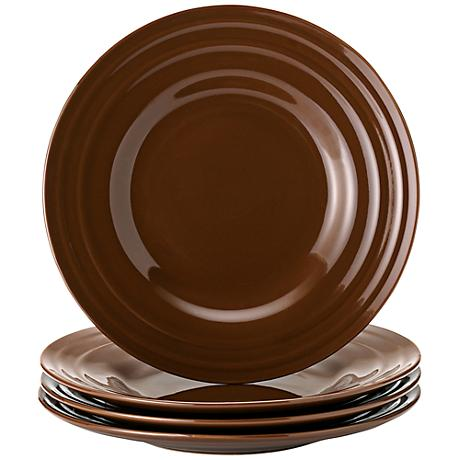 Rachael Ray Double Ridge 4-Piece Brown Salad Plate Set