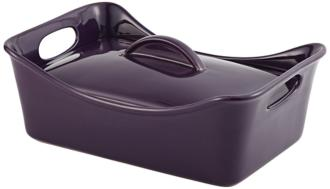 Rachael Ray Stoneware 3.5-Quart Covered Purple Casserole (3M033) 3M033