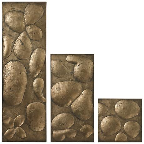 "Set of 3 Ramsey Gold Leaf 32"" High Contemporary Wall Art"