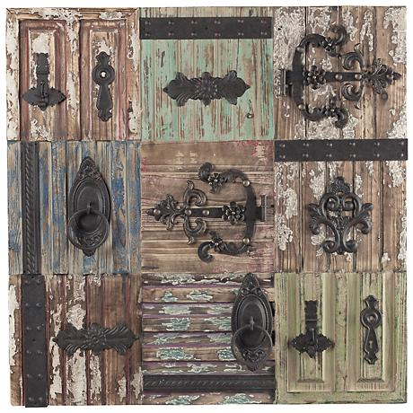 "Iron Door Hardware on Antiqued Tiles 36"" Rustic Wall Art"